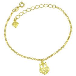 Pulseira folheada a ouro c/ pingente em forma de coruja - Clique para maiores detalhes
