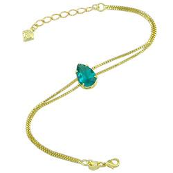Pulseira folheada a ouro c/ corrente dupla e pedra de vidro na cor verde - Clique para maiores detalhes