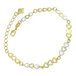 Pulseira folheada a ouro contendo corações c/ apliques de prata - Clique para maiores detalhes