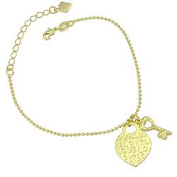 Pulseira Tiffany Inspired folheada a ouro c/ pingentes de coração e chave - Clique para maiores detalhes