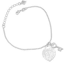 Pulseira Tiffany Inspired folheada a prata c/ pingentes de coração e chave - Clique para maiores detalhes