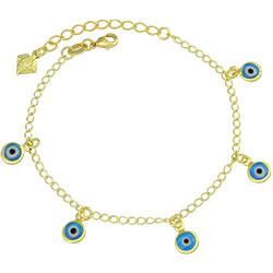 Pulseira folheada a ouro c/ pingentes Olho Grego - Clique para maiores detalhes