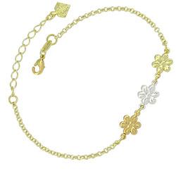 Pulseira folheada a ouro com 3 flores com cores de banho diferentes - Clique para maiores detalhes