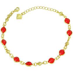 Pulseira Tiffany Inspired folheada a ouro c/ pedras vermelhas e corações - Clique para maiores detalhes