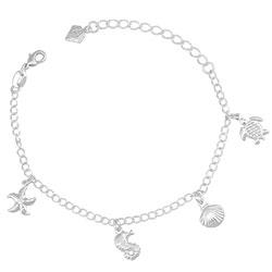 Pulseira infantil folheada a prata com pingentes de tartaruga, cavalo marinho, concha e estrela do mar - Clique para maiores detalhes