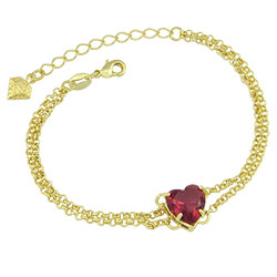 Pulseira folheada a ouro com pedra de vidro lapidado em forma de coração - Clique para maiores detalhes