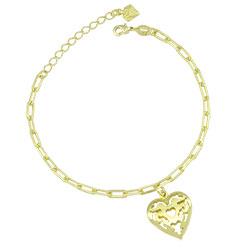 Pulseira folheada a ouro com corrente cartier e pingente de coração - Clique para maiores detalhes