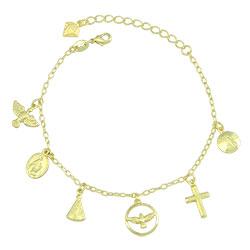 Pulseira folheada a ouro com pingentes religiosos - Clique para maiores detalhes