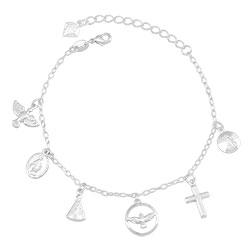 Pulseira folheada a prata com pingentes religiosos - Clique para maiores detalhes