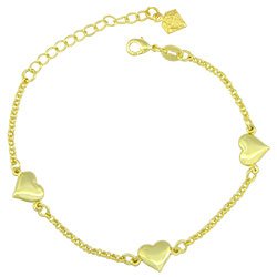 Pulseira folheada a ouro com adereços em forma de coração - Clique para maiores detalhes