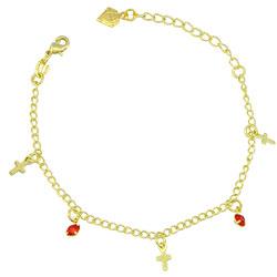 Pulseira infantil folheada a ouro com pingentes de cruz e strass - Clique para maiores detalhes