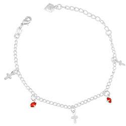 Pulseira infantil folheada a prata com pingentes de cruz e strass - Clique para maiores detalhes