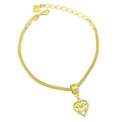 Pulseira Pandora Inspired folheada a ouro com berloque de coração - Clique para maiores detalhes