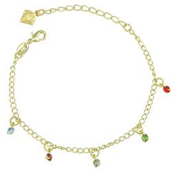Pulseira folheada a ouro com pedras de strass coloridas - Clique para maiores detalhes