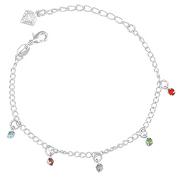 Pulseira folheada a prata com pedras de strass coloridas - Clique para maiores detalhes