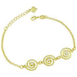 Pulseira folheada a ouro com adereços em forma de caracol e zircônias - Clique para maiores detalhes