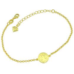 Pulseira folheada a ouro contendo medalha de São Bento - Clique para maiores detalhes