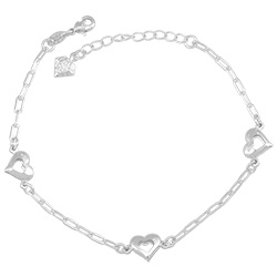 Pulseira folheada a prata com adereços em forma de coração - Clique para maiores detalhes