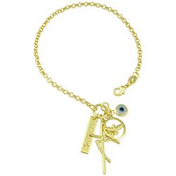 Pulseira folheada a ouro com pingentes olho grego, paz, Fé e Divino Espírito Santo - Clique para maiores detalhes