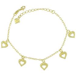Pulseira folheada a ouro com pingentes de coração vazado - Clique para maiores detalhes