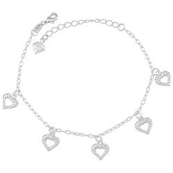 Pulseira folheada a prata com pingentes de coração vazado - Clique para maiores detalhes