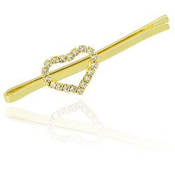 Presilha folheada a ouro com coração em strass - Clique para maiores detalhes