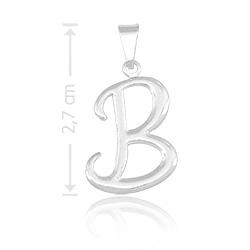 Pingente letra B folheado a prata - Clique para maiores detalhes
