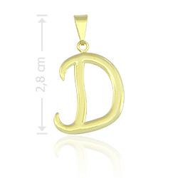 Pingente letra D folheado a ouro - Clique para maiores detalhes