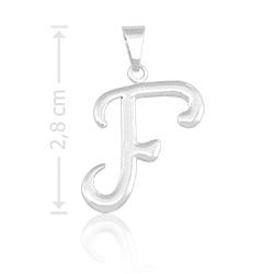 Pingente letra F folheado a prata - Clique para maiores detalhes