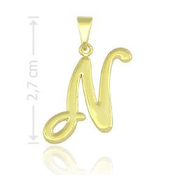 Pingente letra N folheado a ouro - Clique para maiores detalhes