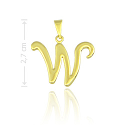 Pingente letra W folheado a ouro - Clique para maiores detalhes