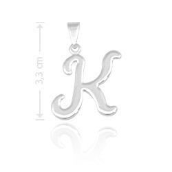 Pingente letra K folheado a prata - Clique para maiores detalhes