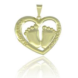 Pingente folheado a ouro em forma de coração com pezinhos - Clique para maiores detalhes
