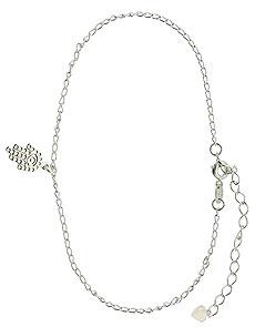 Tornozeleira folheada a prata com pingente MÃO DE FÁTIMA (linha esotéricos)