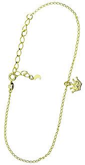 Tornozeleira folheada a ouro c/ pingentes em forma de corôa e lua