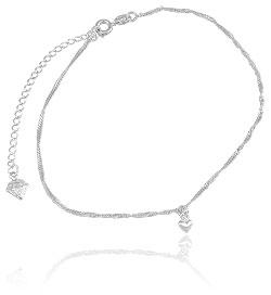 Tornozeleira folheada a prata c/ pingente em forma de coração - Clique para maiores detalhes