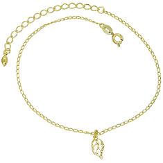 Tornozeleira folheada a ouro e pingente em forma de folha - Clique para maiores detalhes