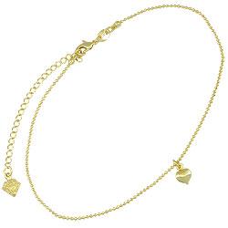 Tornozeleira folheada a ouro c/ pingente em forma de coração - Clique para maiores detalhes