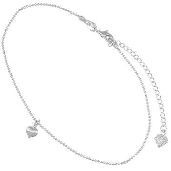 Tornozeleira folheada a prata c/ pingente em forma de coração