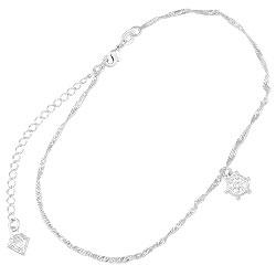 Tornozeleira folheada a prata c/ pingente em forma de timão - Clique para maiores detalhes