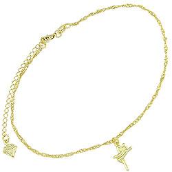 Tornozeleira folheada a ouro c/ pingente escrito a palavra Fé - Clique para maiores detalhes