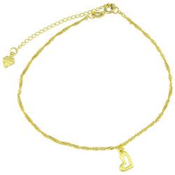 Tornozeleira folheada a ouro com pingente em forma de coração - Clique para maiores detalhes