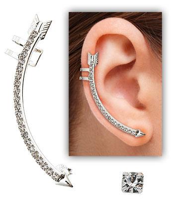8b534ced849a0 Brinco EAR CUFF folheado a prata em forma de flecha c  pedras de strass