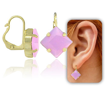 Brinco tranqueta folheado a ouro c/ pedra acrílica na cor lilás
