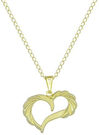 Gargantilha folheada a ouro e pingente de chapa em forma de coração ... f37cbfc6ac