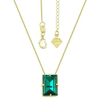 Gargantilha ponto de luz folheada a ouro c/ pedra acrílica na cor esmeralda