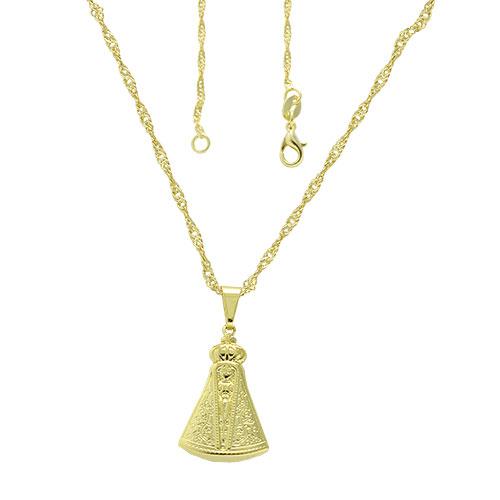 Gargantilha folheada a ouro com pingente de N. Sra. Aparecida