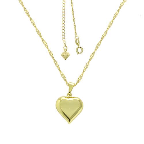 Gargantilha folheada a ouro com pingente em forma de um coração abaulado