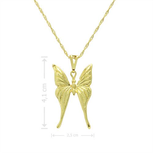 Gargantilha folheada a ouro com pingente em forma de borboleta