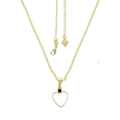 Gargantilha folheada a ouro e pingente em forma de coração vazado com strass